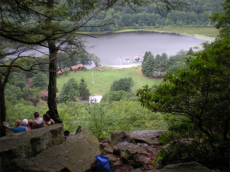Incredible views of the camp from the top of the mountain at Club Getaway in Kent, Connecticut! What a sense of triumph from Hiking/Rock Climbing Adventure!!