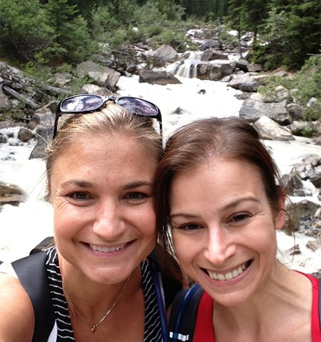 Jessica + Sarina hiking at Lake Louise in Banff National Park in the Canadian Rocky Mts - 8/2013